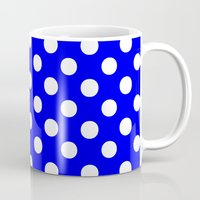 polka Mugs featuring Polka Dots (White/Blue) by 10813 Apparel