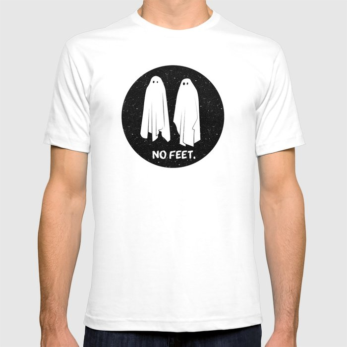 No Feet Ghosts Black and White Graphic T-shirt