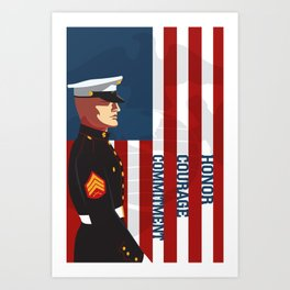 Honor, Courage & Commitment Art Print