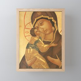 Orthodox Icon of Virgin Mary and Baby Jesus Framed Mini Art Print