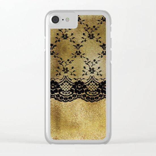 Black floral elegant lace on gold metal backround Clear iPhone Case
