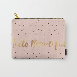 Hello Beautiful - Spotted with Gold Foil on Pale Dogwood, Pantone Spring 2017 color Carry-All Pouch