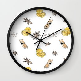 Seamless pattern with lemon slices and spices Wall Clock
