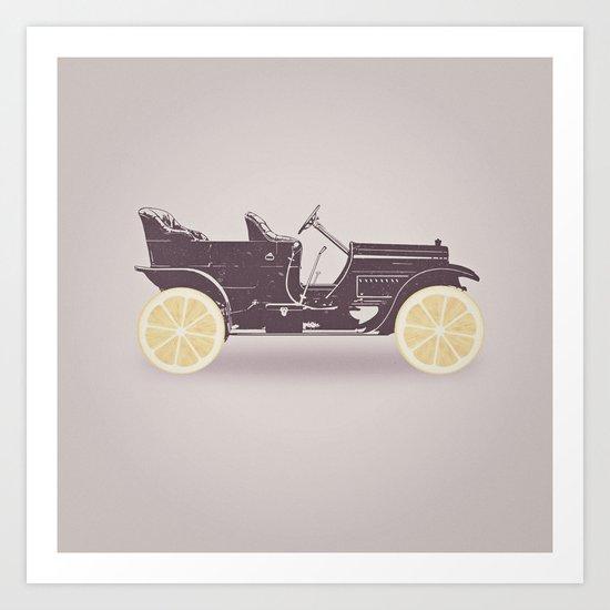 Fresh Drive - Oldtimer - Historic Car with lemon wheels Art Print