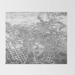 Vintage Pictorial Map of San Antonio TX (1886) BW Throw Blanket