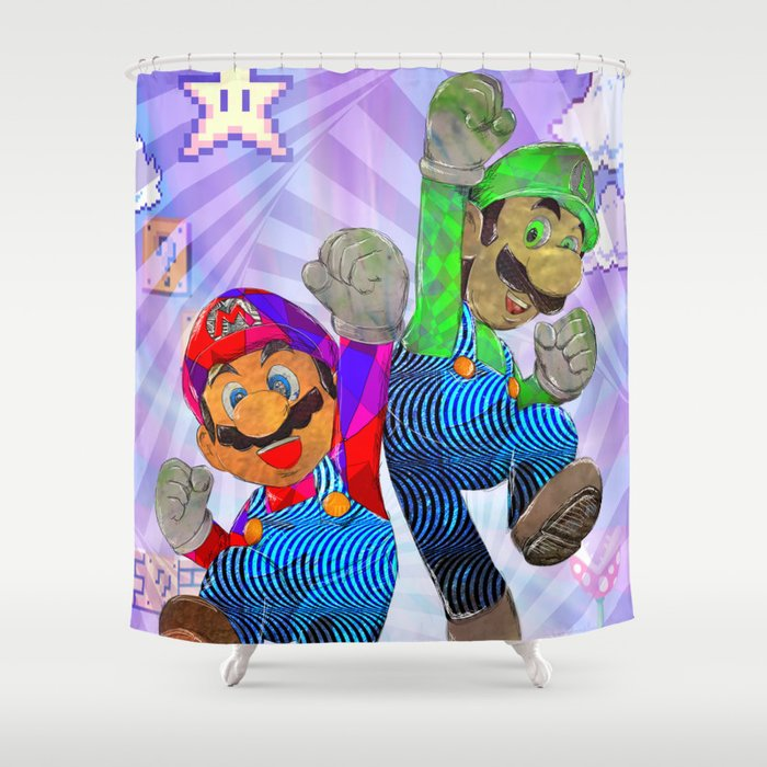 Pop Art Mario Brothers Shower Curtain