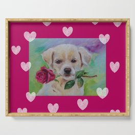 Labrador dog puppy with pink rose flower and hearts Valentine's Day gift Serving Tray