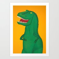 t rex Art Prints featuring T-Rex by Yana Elkassova