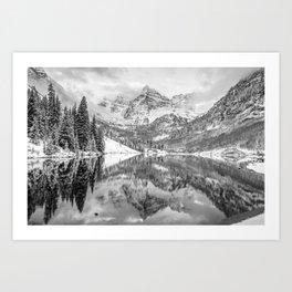 Mountain Landscape Reflections of Maroon Bells Colorado - Monochrome Art Print