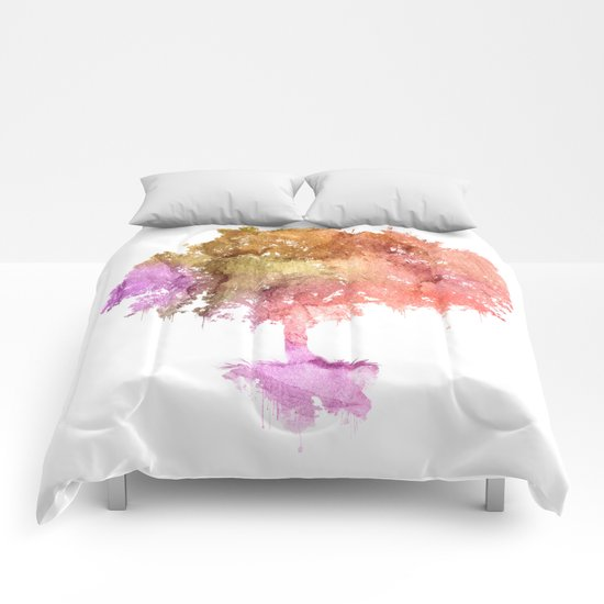 Watercolor tree painting Comforters