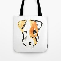 jack russell Tote Bags featuring Jack Russell by Jen Moules