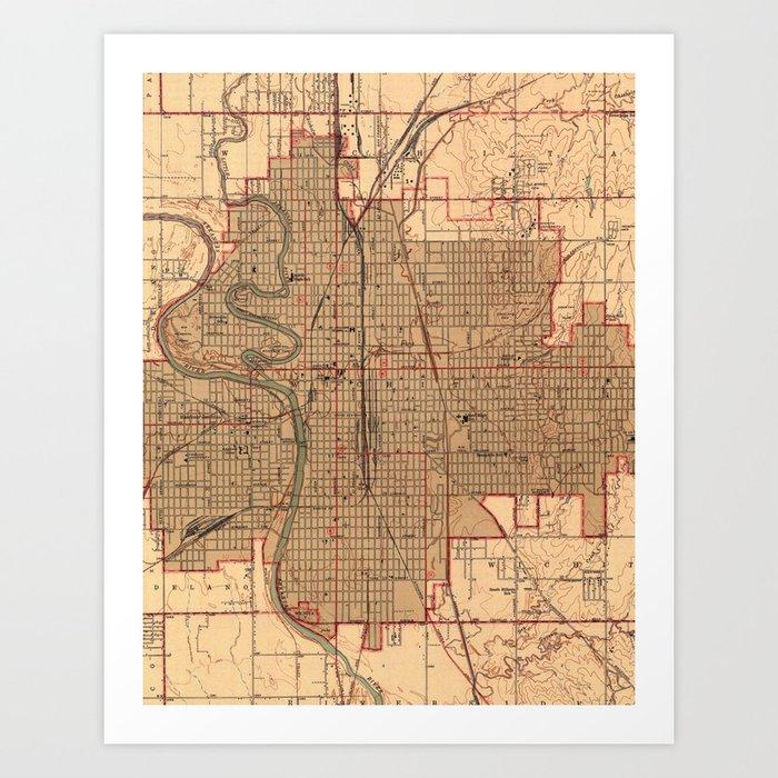 Vintage Map Of Wichita Kansas 1943 Art Print By Bravuramedia