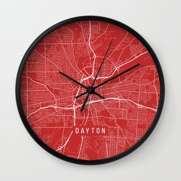 Dayton Map, USA - Red Wall Clock