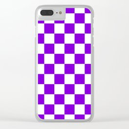 Checkered (Violet & White Pattern) Clear iPhone Case