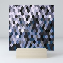 Honeycomb Pattern In Gray and Blue Wintry Colors Mini Art Print