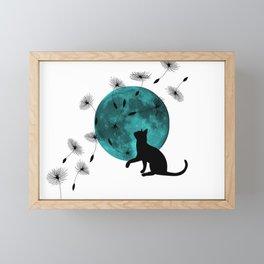 Turquoise Moon black Cat dandelions Framed Mini Art Print