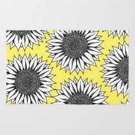 Yellow Sunflower in Black and White Hand Drawing Rug