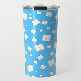 Blue Flying Books Pattern Travel Mug