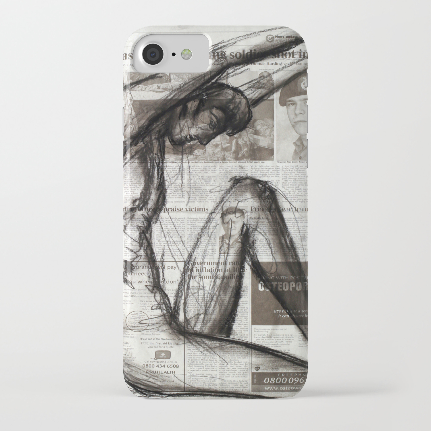 Fire Arms - Charcoal on Newspaper Figure Drawing iPhone Case