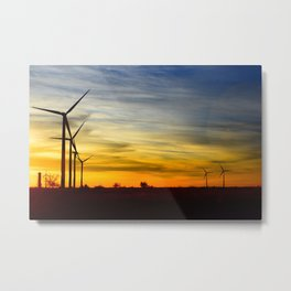 Sunset on Windmill Farm Metal Print
