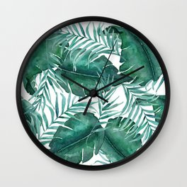 Tropical Monstera Leaf Pattern _ White Background Wall Clock