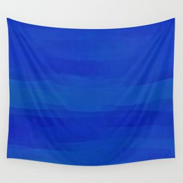 Subtle Cobalt Blue Waves Pattern Ombre Gradient Wall Tapestry