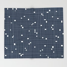 Blue and White Grid - Missing Pieces Throw Blanket