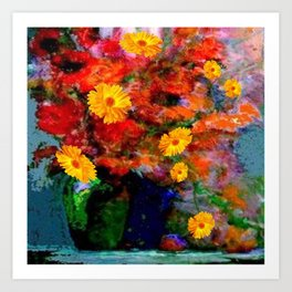 STILL LIFE PAINTING RED & YELLOW FLOWERS Art Print