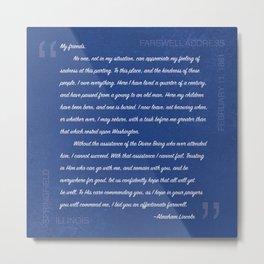 Abraham Lincoln Farewell Address Metal Print