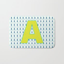 Letter A Monogram Blue, Green and Yellow with Pattern Bath Mat