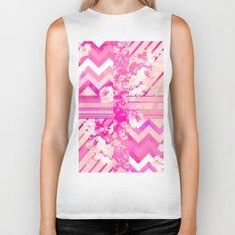 Girly Neon Pink Floral Stripes Chevron Pattern Biker Tank