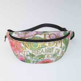 Spring Flowers and butterfly with Quote in latin Fanny Pack