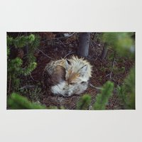 fox Area & Throw Rugs featuring Sleeping Fox by Kevin Russ