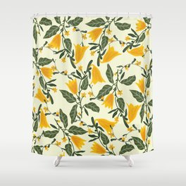 Yellow Bright Flower Pattern Shower Curtain