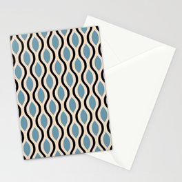 Retro Ogee Pattern 451 Blue and Black Stationery Cards