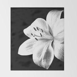 White Lily Black Background Throw Blanket