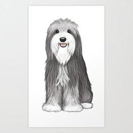 Cute Bearded Collie Cartoon Dog Art Print
