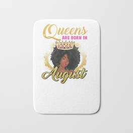 Queens Are Born In August Birthday Hoodie Afro Black Girl Bath Mat