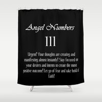 angel Shower Curtains featuring angel by Space & Galaxy Dreams