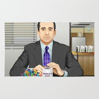 michael scott Area & Throw Rugs featuring Steve Carell as Michael Scott (The Office) by Leo Maia