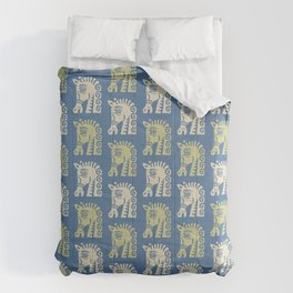 Mid Century Horse Pattern Blue Chartreuse and Beige Comforters