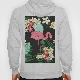 Tropical Pattern With Frangipani and Flamingo Hoody