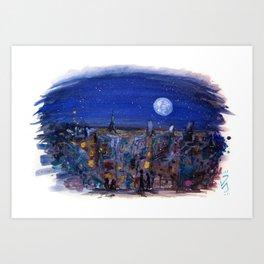 Midnight Paris Art Print