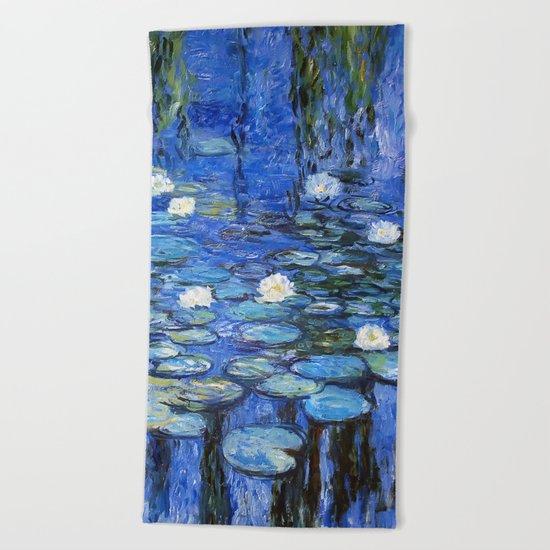 waterlilies a la Monet Beach Towel