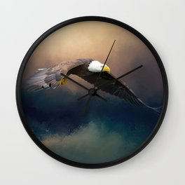Painting flying american bald eagle Wall Clock
