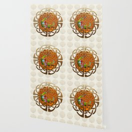 Peacock Celtic Deco Wallpaper