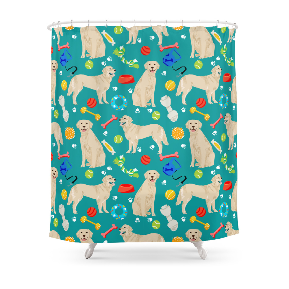 Golden Retriever Pet Friendly Dog Breeds Dog Toys Cute Dog Gifts For Dog Lovers Shower Curtain by petfriendly
