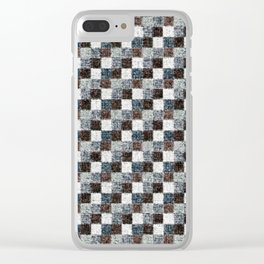 Rustic Gray Black Brown Patchwork Clear iPhone Case