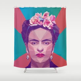 Frida Kahlo Low Poly Collection Shower Curtain