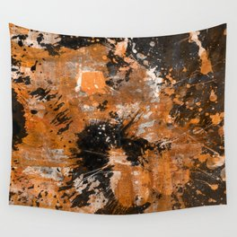 Rusting Darkness - Abstract in gold, black and white Wall Tapestry